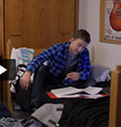 Screenshot from Intervene video featuring student studying
